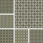 Seamless geometric latticed patterns set. Vector art.