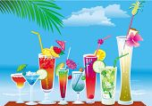 picture of beach party  - Cocktails on the beach on sky background - JPG