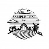 Agriculture landscape engraving style illustration