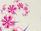 Fantasy Fractal Image With Pink Flowers. Template With Place For Inserting Your Text. Fractal Art As poster