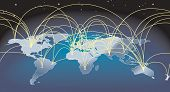 picture of international trade  - A world map background with flight paths or trade routes - JPG
