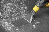 Janitor Removing Dirt From Sofa With Upholstery Cleaner, Closeup poster
