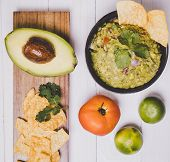 Guacamole Avocado With Chips Mexican Food Flat Lay Top View poster