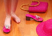 stock photo of prissy  - Young girl surrounded by pink fashion accessories - JPG