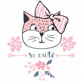 Cute Cat Vector Design. Girly Kittens. Fashion Cats Face. poster