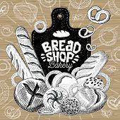 Bread Shop Market, Logo Design, Healthy Food Shop. Bakery, Bread, Baguette, Bagel, Bun, Loaf, Bakery poster