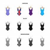Different Kinds Of Swimsuits. Swimsuits Set Collection Icons In Cartoon, Black, Monochrome Style Vec poster