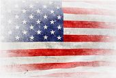 Grungy American flag on white background poster