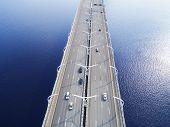 Aerial View Of Highway In The Ocean. Cars Crossing Bridge Interchange Overpass. Highway Interchange  poster