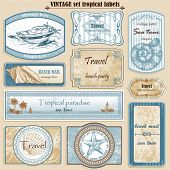 stock photo of starfish  - Travel set vintage ornate vector labels - JPG