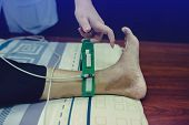 Electrocardiogram For Heart And Pulse Measurement In Hospital. poster
