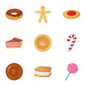 Desserts Icons Set. Cartoon Illustration Of 9 Desserts Icons For Web poster