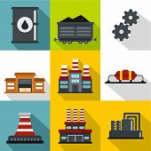 Oil Production Icons Set. Flat Illustration Of 9 Oil Production Icons For Web poster