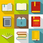 Library Icons Set. Flat Illustration Of 9 Library Icons For Web poster