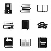 Library Icons Set. Simple Illustration Of 9 Library Icons For Web poster