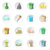 Garbage Items Icons Set. Cartoon Illustration Of 16 Garbage Items Icons For Web poster