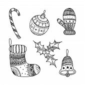Vector Set Of Christmas Decorative Symbol - Candy Cane, Tree Ball, Mitten, Sock, Holly, Christmas Be poster