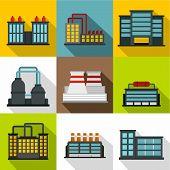 Production Plant Icons Set. Flat Illustration Of 9 Production Plant Icons For Web poster