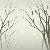 stock photo of mantle  - Snowfall in the forest - JPG