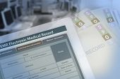 Background Photo Showing Medical Record Changing From Paperwork To Electronic Medical Record. poster
