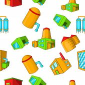Production Plant Pattern. Cartoon Illustration Of Production Plant Pattern For Web poster