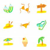 Trip To Sea Icons Set. Cartoon Illustration Of 9 Trip To Sea Icons For Web poster