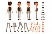 Boy Character Creation Set, Student Boy Constructor With Different Poses, Gestures, Shoes Vector Ill poster