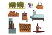 Wine Production Process Stages , Production Beverage From Grape Cartoon Vector Illustrations poster