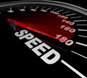 A speedometer with red needle pointing to the word Race representing the importance of speeding up t