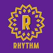 Optical Illusion Rhythm Logo In Round Moving Frame. poster