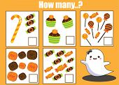 Counting Educational Children Activity. Halloween Theme Mathematics Worksheet poster