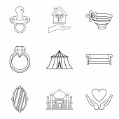 Wife Icons Set. Outline Set Of 9 Wife Icons For Web Isolated On White Background poster