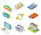 Bank Isometric Icons. Internet Banking, Money And Checkbook, Loans And Cash Currency, Credit Card Bu poster