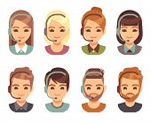 Call Center Man And Woman Operator Business Avatars. Cartoon People Agent Faces With Headset. Suppor poster