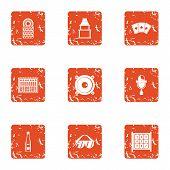 Evening Bar Icons Set. Grunge Set Of 9 Evening Bar Icons For Web Isolated On White Background poster