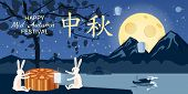 Mid Autumn Festival, Moon Cake Festival, Rabbits Rejoice And Play Near The Moon Cake, Holidays In Th poster