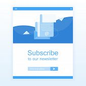 Subscribe To Newsletter Concept. Open Message With The Document. Paper Airplanes Icon. Modern Flat S poster