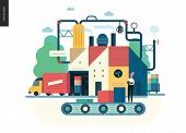 Business Series, Color 1 - Factory Production -modern Flat Vector Illustration Concept Of Industrial poster