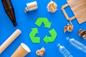 Recycling For Environment Protect. Green Recycle Eco Symbol. Recycled Arrows Sign Near Matherials Fo poster