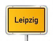 City limit sign LEIPZIG against white background - federal state of Saxony / Sachsen - vector illust