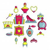 Princess Doll Icons Set. Cartoon Illustration Of 16 Princess Doll Icons For Web poster