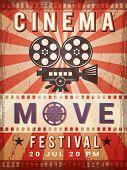 Cinema Poster. Vintage Design Template Of Video And Cinema Production Poster. Vector Production And  poster