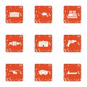 Bring The Material Icons Set. Grunge Set Of 9 Bring The Material Icons For Web Isolated On White Bac poster