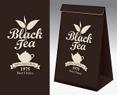 Paper Packaging With A Label For Black Tea. Vector Label For Black Tea With A Pattern Twig Tea And A poster
