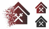 Guard Office Icon In Fractured, Dotted Halftone And Undamaged Solid Variants. Particles Are Combined poster