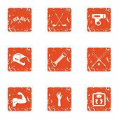 Sport Race Icons Set. Grunge Set Of 9 Sport Race Icons For Web Isolated On White Background poster