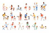 Set With Parents And Their Children Doing Different Sport Exercises. Family Time. Physical Activity  poster