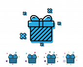 Gift Box Line Icon. Present Or Sale Sign. Birthday Shopping Symbol. Package In Gift Wrap. Line Icon  poster