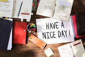 Phrase Have a nice day in a workspace poster