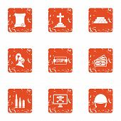 Challenge Icons Set. Grunge Set Of 9 Challenge Icons For Web Isolated On White Background poster